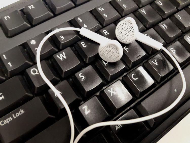 Working buddies ♪♫♬ Music Technology Communication Computer Keyboard Computer Key Headphones Computer Working Indoors  Close-up Text Keyboard