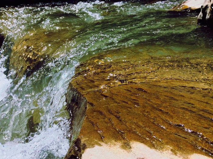 High angle view of flowing water