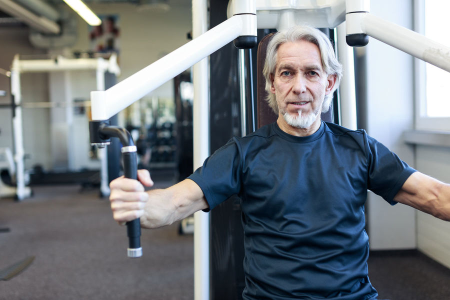 Athlete Exercising Sportsman Activity Exercising In Nature Fitness Gray Hair Gym Health Club Healthy Healthy Lifestyle Indoors  One Person Portrait Real People Retirement Plan Senior Senior Adult Senior Men Sport Sports Workout