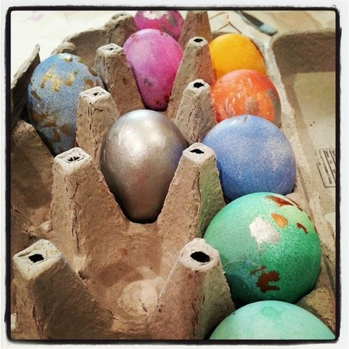 The girls contribution to the tradition of Easter Egg dying! Mommytweet Firsts Family Fun