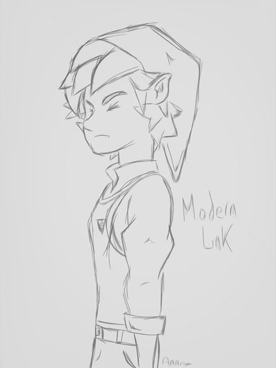 This is like what I would think, Link would look like modern-day. Depressed school kid who finds out he has to save the world..