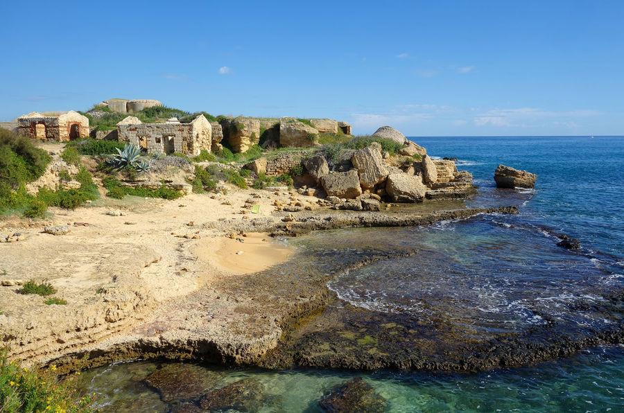 Landscape Coast Nature Plemmirio - Pillirina 🐠 Siracusa Sicily Italy Water Sea Beach Tree Blue Rock - Object Sky Horizon Over Water