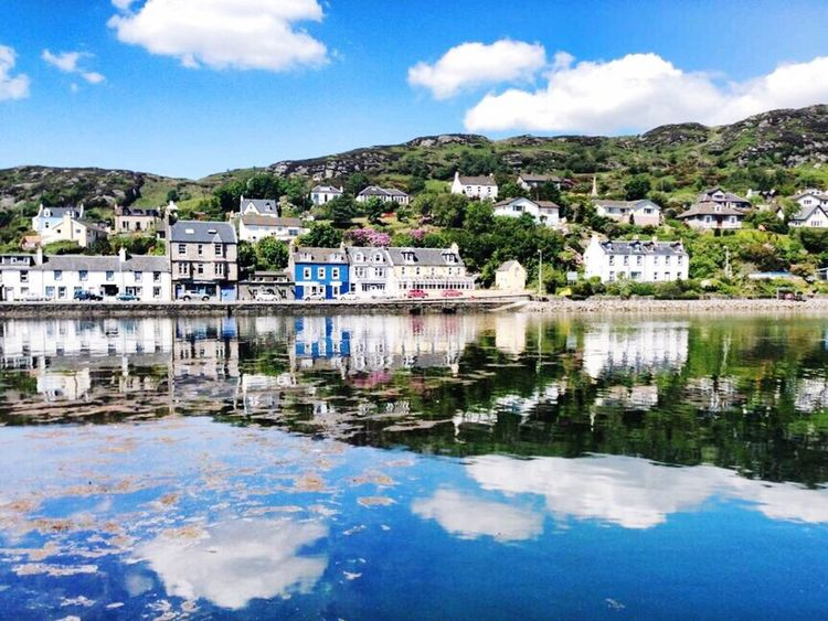 Reflection Water Sky Waterfront Blue Day Outdoors Tree Nature Tarbert Buildings Fishing Village
