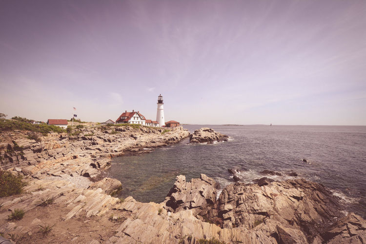 Lighthouse Maine Portland Portland Head Light Architecture Building Building Exterior Built Structure Direction Guidance Horizon Horizon Over Water Land Lighthouse Nature No People Outdoors Rock Rock - Object Scenics - Nature Sea Sky Solid Tower Water