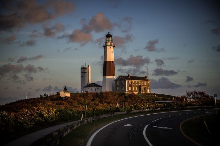Montauk point lighthouse. Montauk, Cloud - Sky Sky Architecture Built Structure Road Religion Building Exterior No People Outdoors Day Nature New York