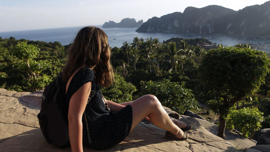 Woman sitting on looking at view