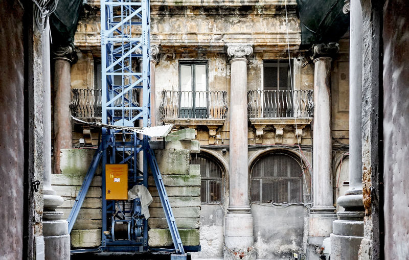 Reconstruction of an old palace in Palermo, Italy Architecture Built Structure Building Exterior Building No People Old Abandoned Arch History Palermo Sicily Construction Site Palace Travel Ruined Crane Development Obsolete Reconstruction