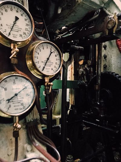 Instrument Of Measurement Pressure Gauge Technology Machinery No People Gauge Indoors  Close-up Speedometer Time Clock Day Still Life Full Frame Counting Numbers Engineering Machinery Antiques Counting Industry Engine Room Engine Pipes Ship Interiors Interior Detail