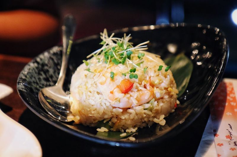 Close-up of rice served in plate