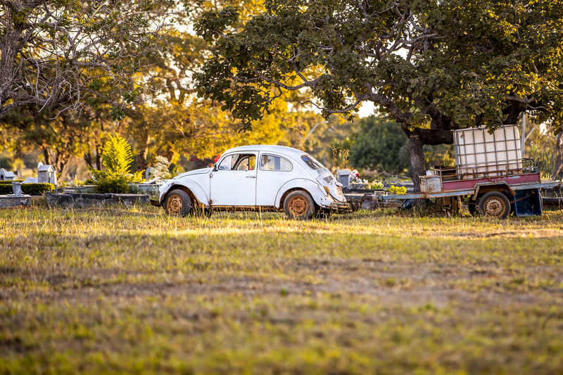 Vintage Car At Cemetery