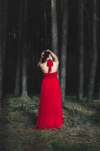 Rear View Of Woman In Red Gown Standing At Forest