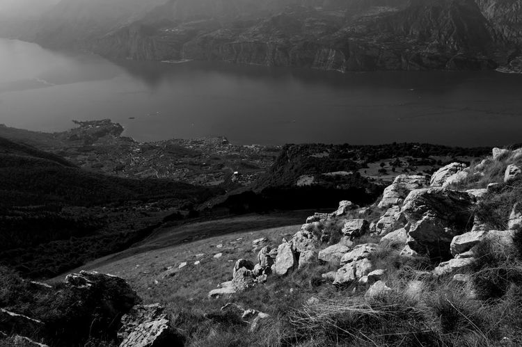 The valley Lake Garda Beauty In Nature Blackandwhite Day Italy Landscape Monochrome Mountain Nature No People Outdoors Physical Geography River Rock - Object Scenics Sky Tranquil Scene Tranquility Tree Water