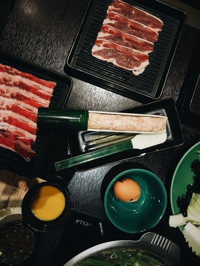 Food And Drink Indoors  Still Life High Angle View Food No People Freshness Table Close-up Japanese Food Ready-to-eat Meat Plate Preparation  Household Equipment Asian Food Healthy Eating Multi Colored Sweet Food