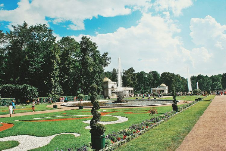 View of park against cloudy sky