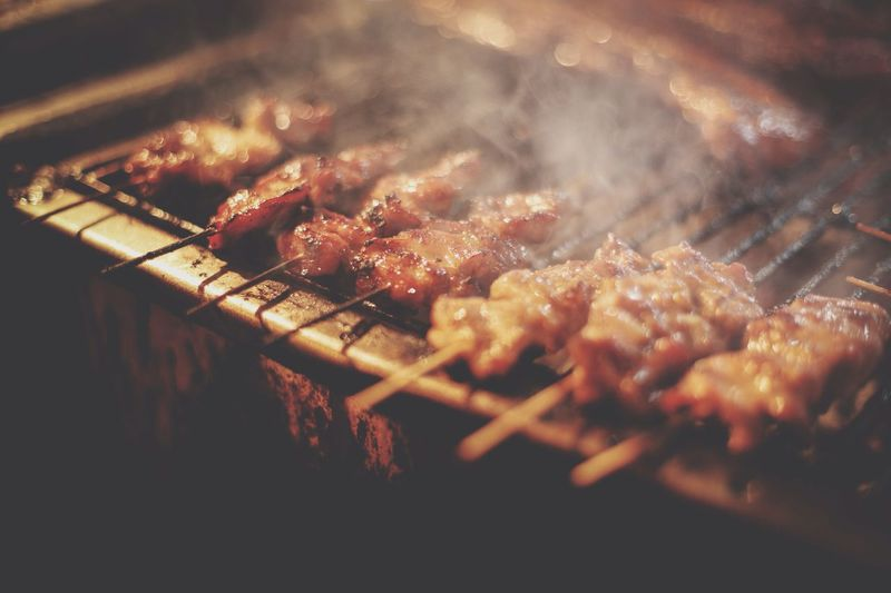 Close-up of pork on barbecue