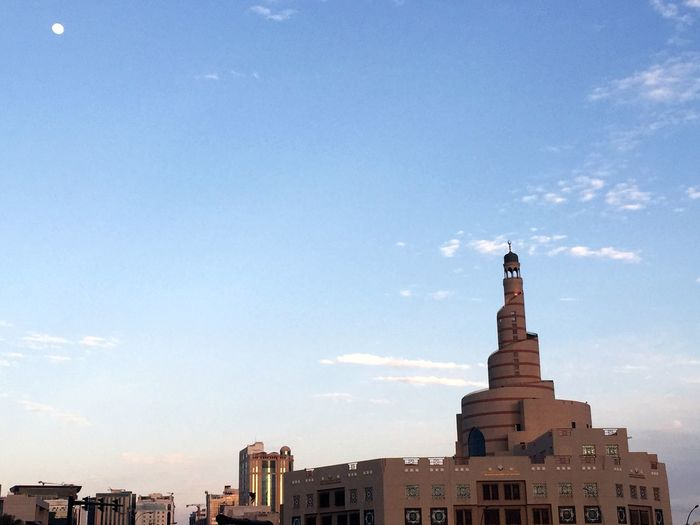 Qatar Doha Souq Waqif Sky And Clouds Travel Destinations Moon Afternoon Building Qatarlife Beautiful Day Beautiful Moon  Iphoneonly IPhoneography IPhone Photography Iphone6plus EyeEmNewHere