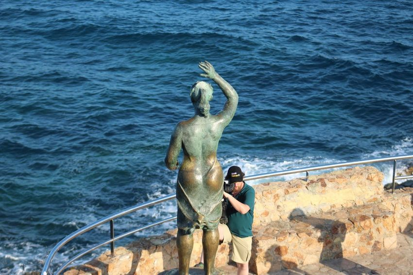 Water Sea Leisure Activity High Angle View Real People Togetherness Day Men Two People Outdoors Women Nature Standing Statue Full Length Mammal People Lloret De Mar Costa Brava Gironamenamora