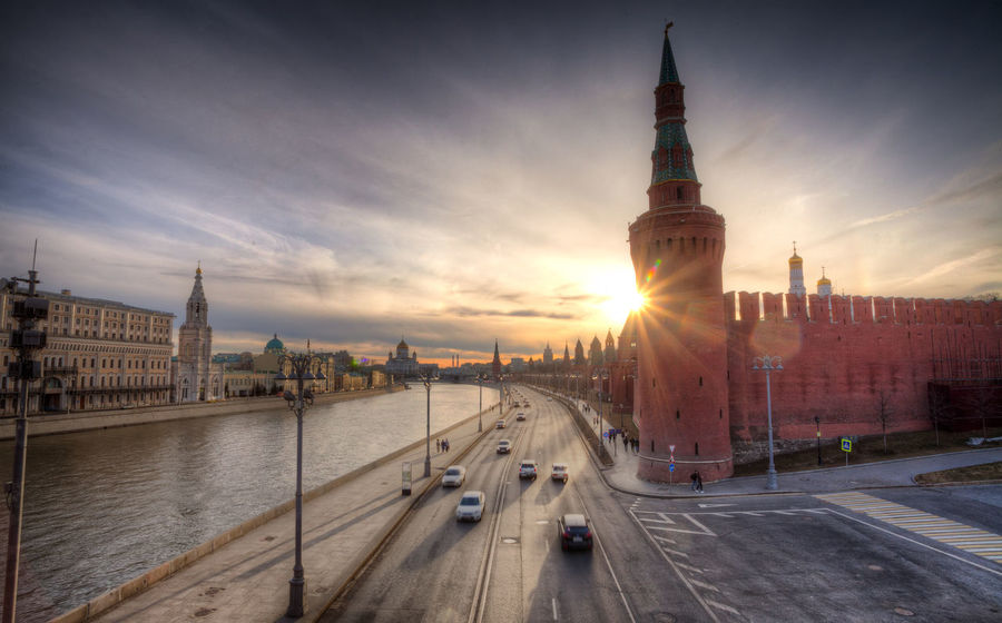 Moscow Russia Architecture Building Building Exterior Built Structure City Lens Flare Nature Outdoors Road Sky Sunset Tower Transportation Travel Travel Destinations