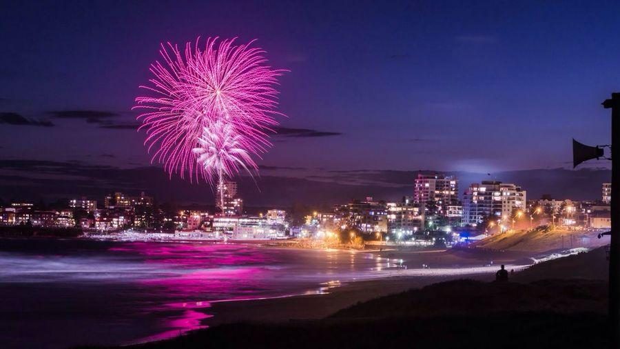Fireworks exploding over cronulla
