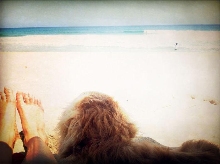 Namu and me at the sea. 나무랑 바다 보러 왔다.