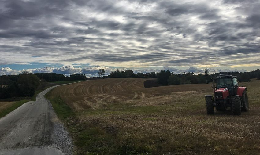 Cloud - Sky Field Agriculture Farm Rural Scene Landscape Nature Outdoors Grass Tractor Norway Road Road Ahead The Way Forward