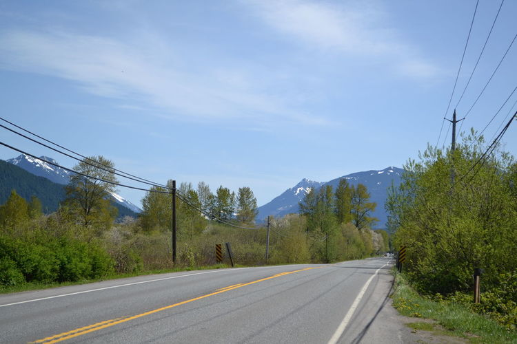 Outskirts of Seattle Country Road Mountain Mt Ranier Nature Power Line  Roadtrip The Way Forward Washington