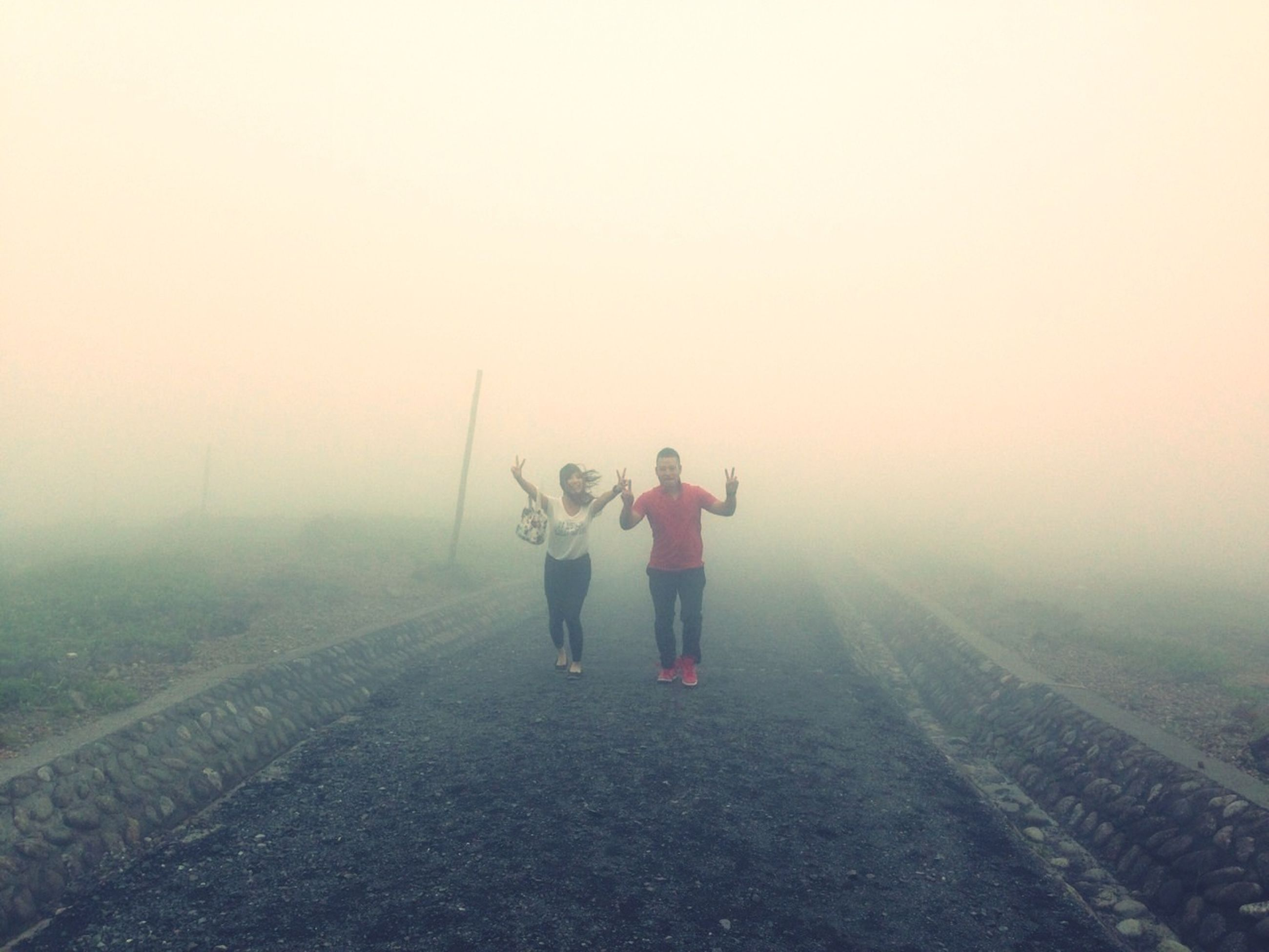 full length, lifestyles, leisure activity, rear view, fog, casual clothing, togetherness, men, bonding, walking, boys, childhood, foggy, standing, field, copy space