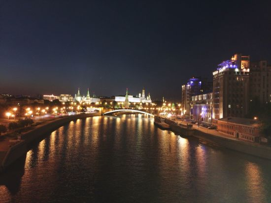 The Kremlin from Patriarsky Bridge in Moscow Traveling Rus2015tc