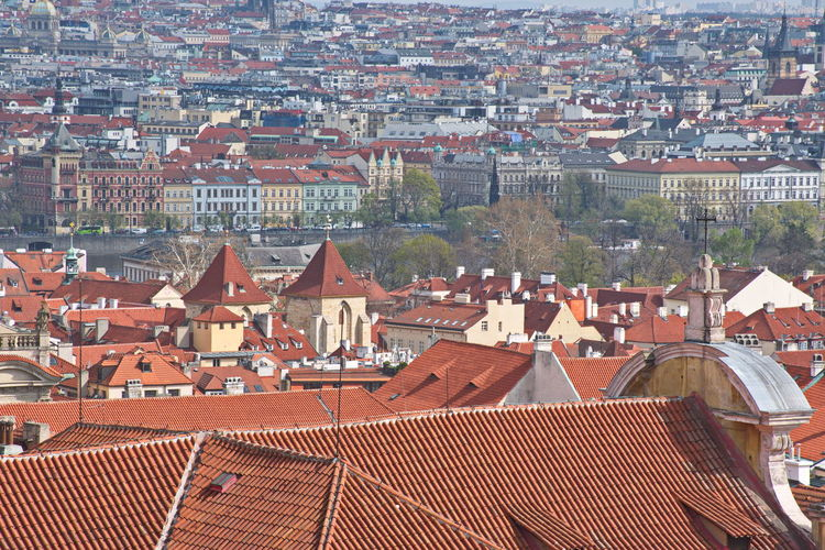 Architecture Building Exterior Built Structure Building City Roof Residential District House High Angle View Cityscape Town Community Roof Tile Day TOWNSCAPE Outdoors Red Prague Czech Republic Bohemia History View Panorama Travel Travel Destinations