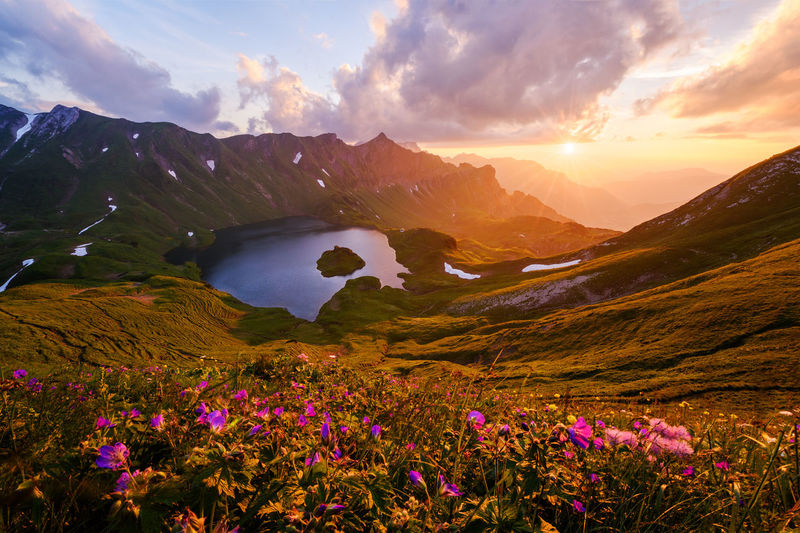 Allgäu Allgäu Alps Allgäuer Alpen Alpen Alps Bavaria Beauty In Nature Clouds Deutschland Flowers Germany Lake Landscape Mountains Nature No People Outdoors Scenic Schrecksee See Sky Summer Sun Sunset