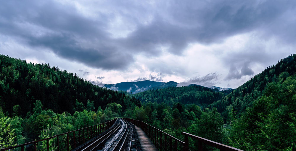 Cloud - Sky Sky Transportation Tree The Way Forward Plant Track Railroad Track Direction Nature Beauty In Nature Scenics - Nature Rail Transportation No People Mountain Non-urban Scene Green Color Day Tranquility Diminishing Perspective Outdoors