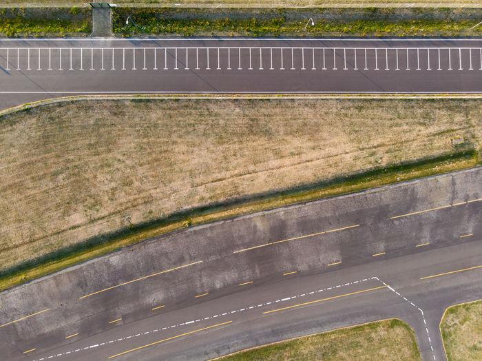 High angle view of runway