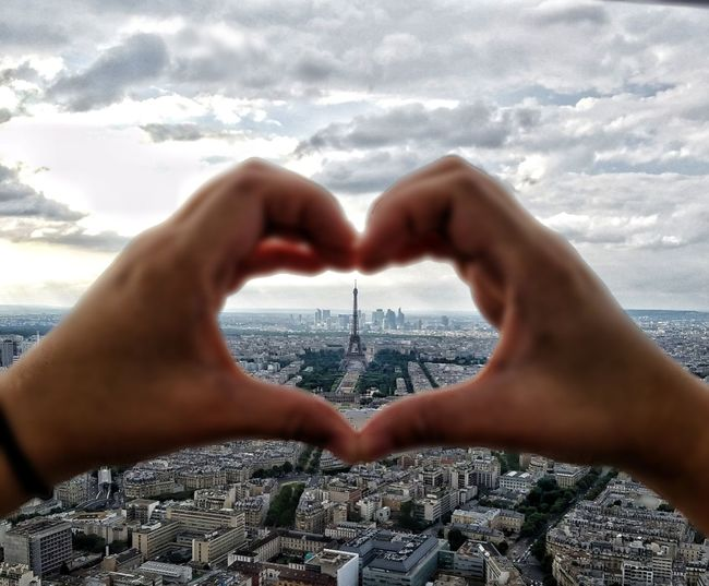 Love and hearts from Paris, France  Human Hand Travel Sky Cloud - Sky Travel Destinations Close-up Outdoors Cityscapes_collection Landscapes City Skyline Eiffle Tower Heartshape Hearts An Eye For Travel