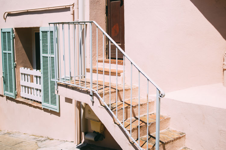 Pink Architecture Building Building Exterior Built Structure Entrance House Railing Staircase Steps And Staircases Sunlight Window