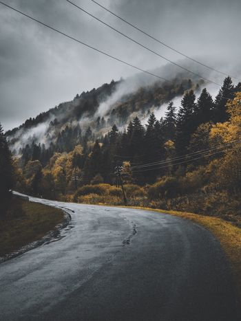 Nature Weather Beauty In Nature Scenics Sky Outdoors Tree Tranquil Scene Tranquility No People Road Cold Temperature Winter Day Transportation Mountain The Way Forward Fog Cloud - Sky Landscape