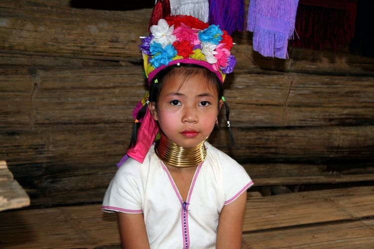 Child Childhood Cultures Cute Girls Innocence Lifestyles Looking At Camera Nek Person Portrait Rings Thailand Traitional Spotted In Thailand Telling Stories Differently