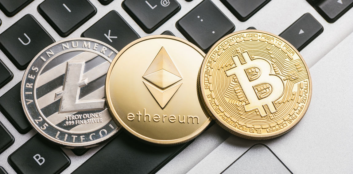 Digital cryptocurrencys Bitcoin, Ethereum, Litecoin on a notebook Anonymous Business Currency Economy Gold Market Trading Virtual Bit-coin Bitcoin Coin Concept Crypto Cryptography Ether Ethereum Exchange Finance Financial Internet Keyboard Litecoin Money Notebook Symbol
