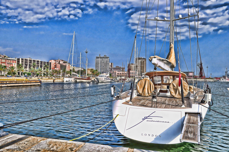 Cagliari Hdr Cagliari, Sardinia City Of Cagliari Harbour Postcard Sardegna, Cagliari Porto Sardinia , Cagliari Boat Harbor Mode Of Transport Nautical Vessel Postcard From Cagliari Sailboat Sailing Sailing Ship Sardegna Sardinia Sardinia,italy Ship Transportation Yacht