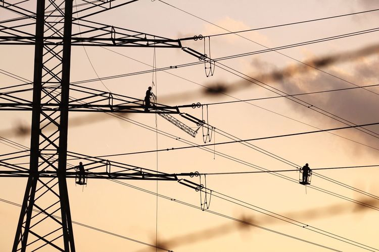 Sky Connection Cable Fuel And Power Generation Power Supply Technology Electricity Pylon Electricity  Metal Silhouette Cloud - Sky Low Angle View