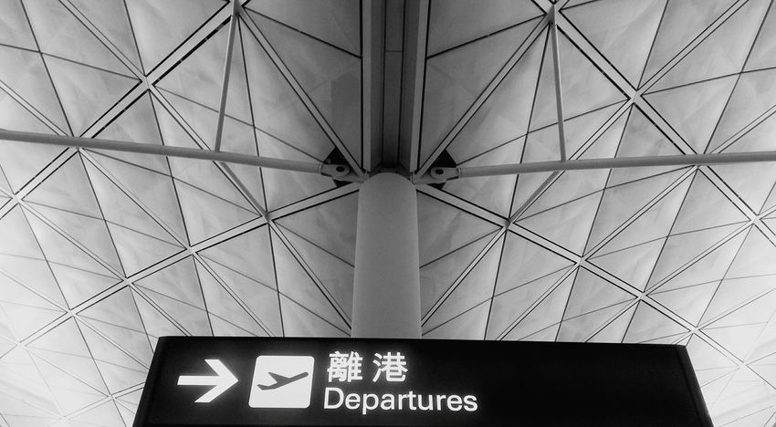 Hong Kong International Airport 7/2/2016 Emotion Communication Low Angle View Information Public Places Lines And Patterns Lines Architectural Feature Travel Photography Signs Symbols The Architect - 2017 EyeEm Awards Sad Departures Departing Chinese Characters Directional Sign Direction Lines And Angles Patterns Symmetry Symmetrical Black And White Let's Go. Together.