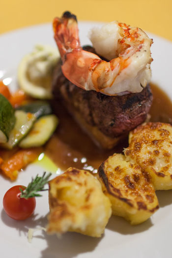 Beef Filet Close-up Day Food Food And Drink Meal No People Plate Potatoes Ready-to-eat Rinderfilet Surf And Turf