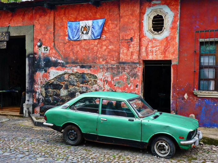 Antigua Guatemala Building Exterior Built Structure Car Guatemala No People Old-fashioned Parking Travel Destinations