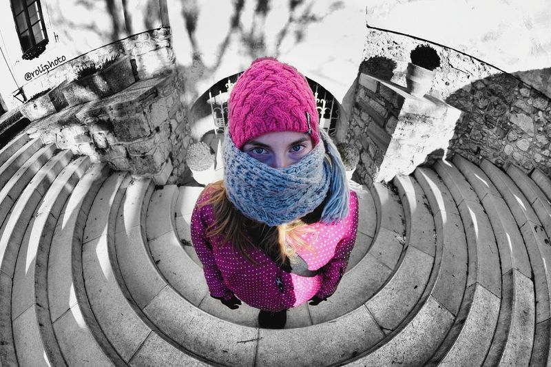 Pink Color Outdoors One Person Women Close-up Portrait People Young Women Nikon Nikonphotography Fisheye Blackandwhite Bled Bled Lake Slovenia Tourist First Eyeem Photo Roliphoto
