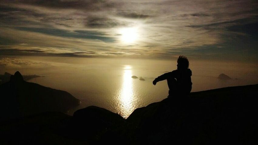 Pedra da gávea rio de janeiro. Silhouette Sunset People One Person Landscape Social Issues Adult Night Men Nature Adventure Water One Man Only Standing Adults Only Outdoors Human Body Part Sky Only Men Space