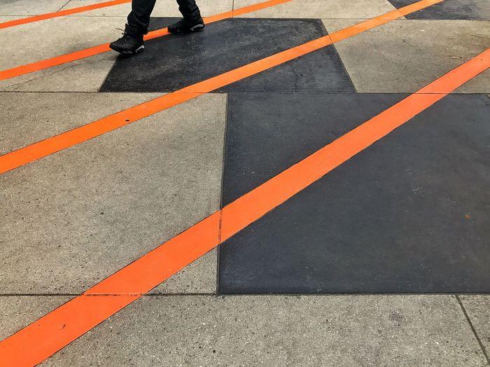 Feet Walking Walking Around Lines Diagonal Diagonal Lines Diagonals Orange Orange Color Orange Line