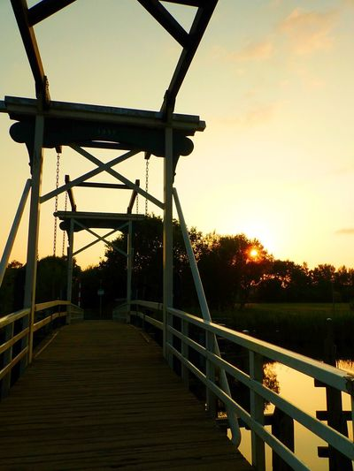 Architecture Bridge Bridge - Man Made Structure Built Structure Connection Diminishing Perspective Direction Draw Bridge Footbridge Land Metal Nature No People Orange Color Outdoors Plant Railing Sky Sunset The Way Forward Tree