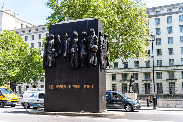 Monument to The Women of World War II. It is a British national war memorial situated on Whitehall in London, to the north of the Cenotaph Britain Cenotaph John W. Mills London Queen Elizabeth II Uk British Capital City England English Europe Famous Feminism Heritage Landmark Memorial Monument National Sculpture Sightseeing Statue Tourism Travel War Whitehall Woman Women World War II Government