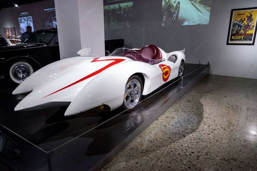 Los Angeles, CA, USA - March 4, 2017: White 1999 Mach 5 Speed Racer prototype at the Petersen Automotive Museum in Los Angeles, California, United States. Editorial only. 1999 Day Fast Car Mach 5 Movie Prop No People Petersen Automotive Museum Race Car Speed Racer Transportation