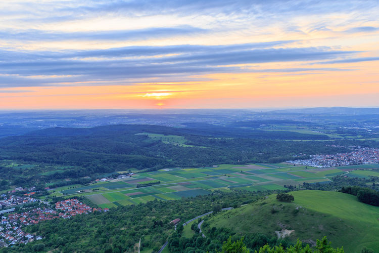 Sunset from the Teck Castle in Owen/Teck near Kirchheim Aerial View Beauty In Nature Burg Teck Cloud - Sky Hörnle Kirchheim Teck Kirchheim Unter Teck Landscape Nature No People Outdoors Owen Rural Scene Scenics Schwäbische Alb Sky Sunset Teck Tranquil Scene Tranquility Wallpaper