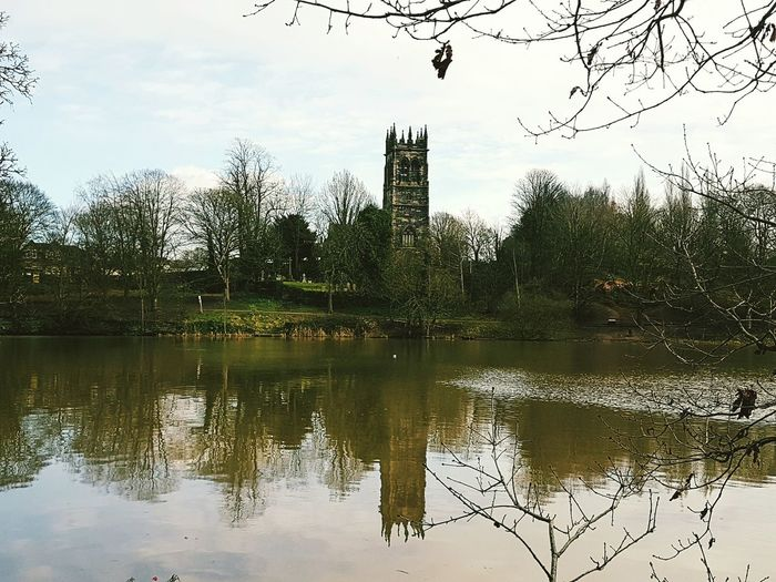 Reflection Water Tree Sky No People Nature Outdoors Cloud - Sky Architecture Cultures Beauty Around Us English Village Nature Architecture Built Structure The Church On The Hill